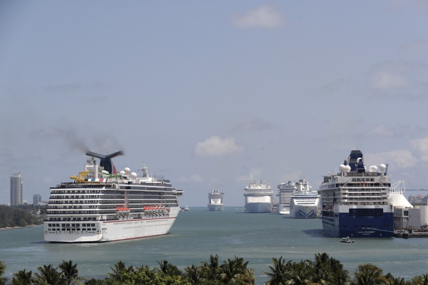 The Carnival Pride cruise ship arrived April 7, 2020, in Miami.