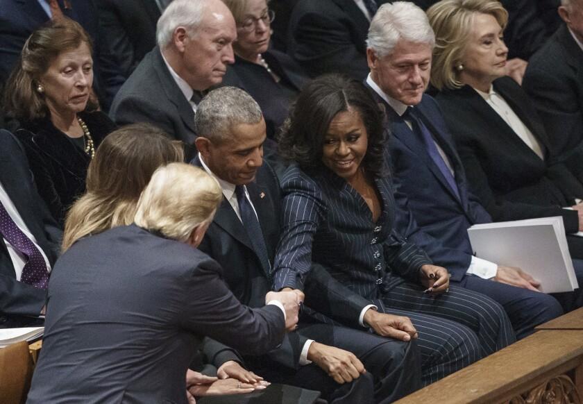 Barack Obama, Michelle Obama, Hillary Clinton, Bill Clinton, Dick Cheney, Lynne Cheney, Marilyn Quayle, Donald Trump, Melania Trump