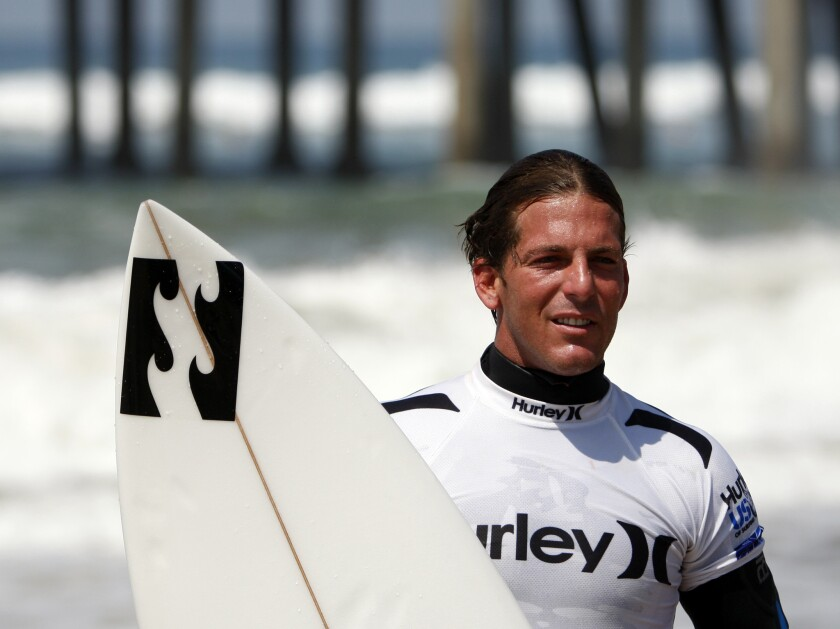 Surfer Andy Irons at the 2009 U.S. Open of Surfing at the Huntington Beach pier.
