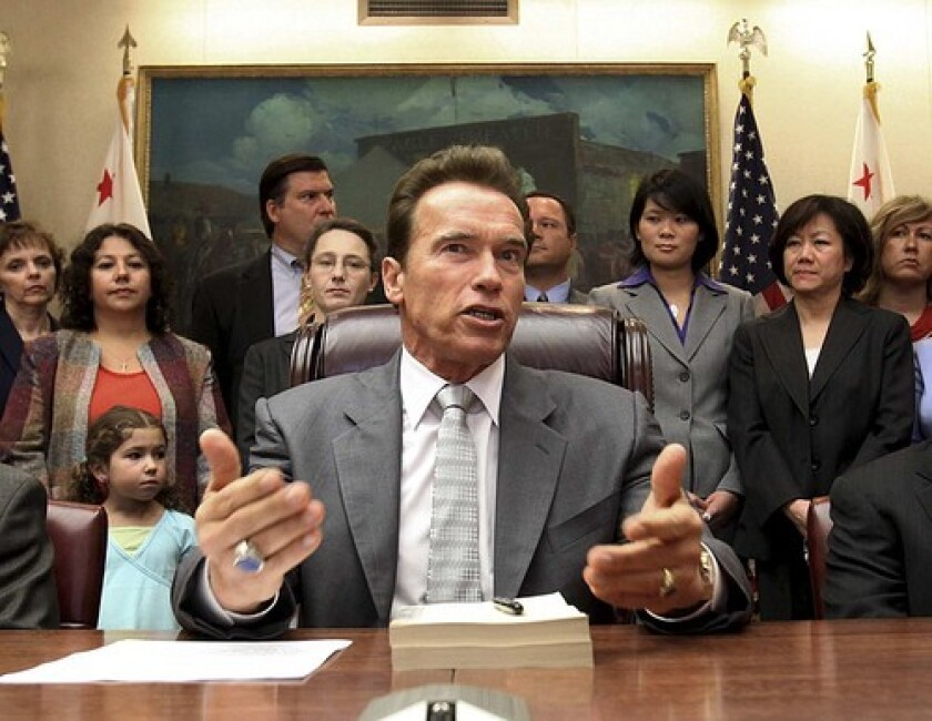 "Arnold Schwarzenegger speaks at the budget-signing ceremony in Sacramento. The lame duck governor is ""very focused on what ideas might be out there that Californians are not talking about,"" says consultant Adam Mendelsohn."
