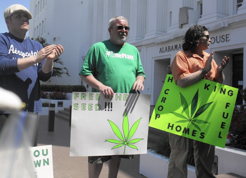 Alabama residents in April rally outside the state Legislature in favor of medicinal marijuana legalization. The Republican Party faces a dilemma on whether to grant states more power or to enforce federal marijuana laws, both positions it has traditionally favored.