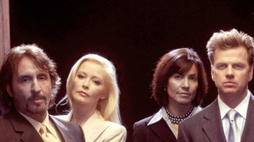 "Pamela Gidley, second from left, appears in a 2003 promotional photo for the Fox series ""Skin."""
