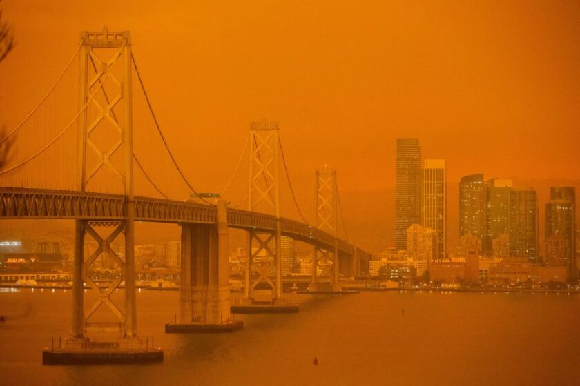 Smoke from Northern California fires turns the air orange in San Francisco