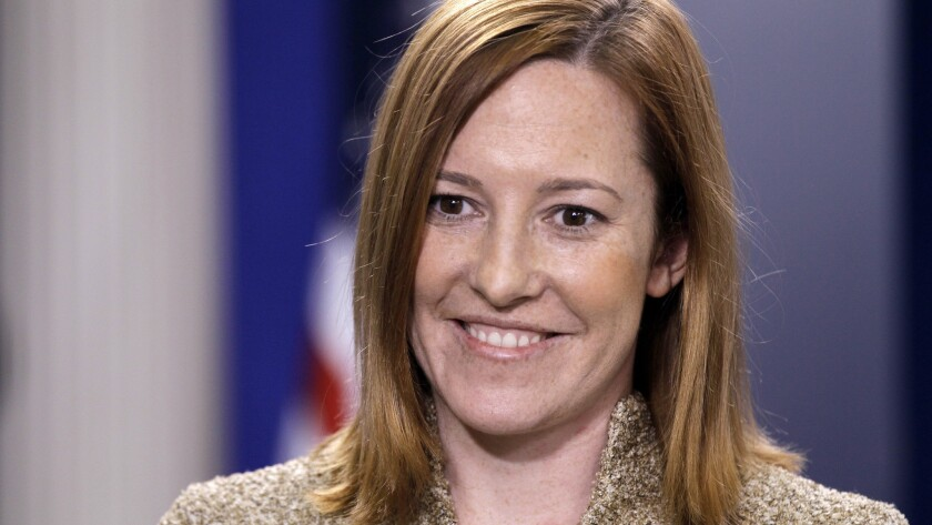 """White House communications director Jen Psaki remembers first meeting then-Sen. Barack Obama as a campaign aide and telling him, """"You must be wondering who I am and why I am in your car."""""""