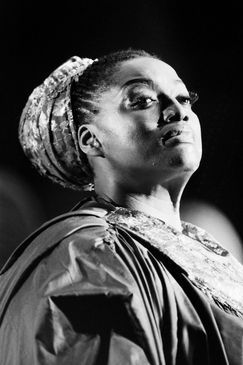 "Jessye Norman photographed performing in Purcell's ""Dido and Aneas"" at Opera Comique in Paris in 1984."