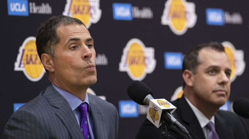 EL SEGUNDO, CA-MAY 20, 2019: Los Angeles Lakers General Manager Rob Pelinka, left, and new head coa