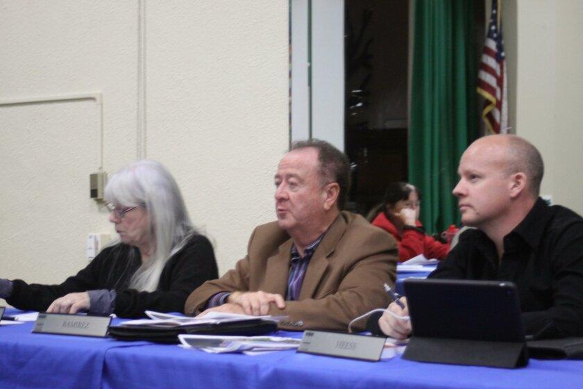 La Jolla Town Council trustees Cathy Jones, Al Ramirez and Brandon Heess