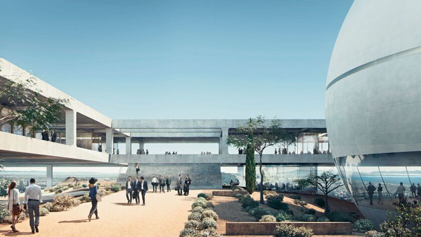 A rendering of the proposed Westside campus for the Berggruen Institute, by Herzog & de Meuron.