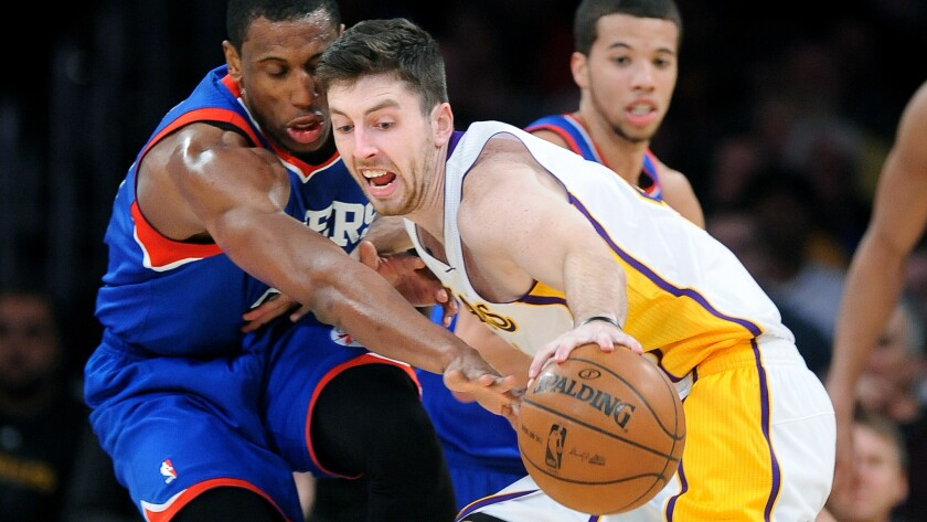Lakers forward Ryan Kelly, right, is stripped of the ball by Thaddeus Young of the Philadelphia 76ers during a game in December. Kelly has been given a $1 million qualifying offer by the Lakers.