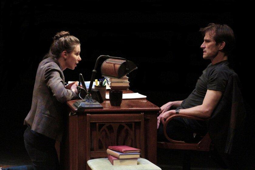 """Rachael VanWormer and Francis Gercke in Intrepid Shakespeare Company's """"Oleanna."""" CREDIT: Daren Scott"""