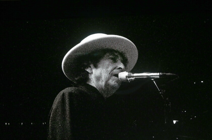 Bob Dylan plays the opening set at Desert Trip in Indio last Friday night.