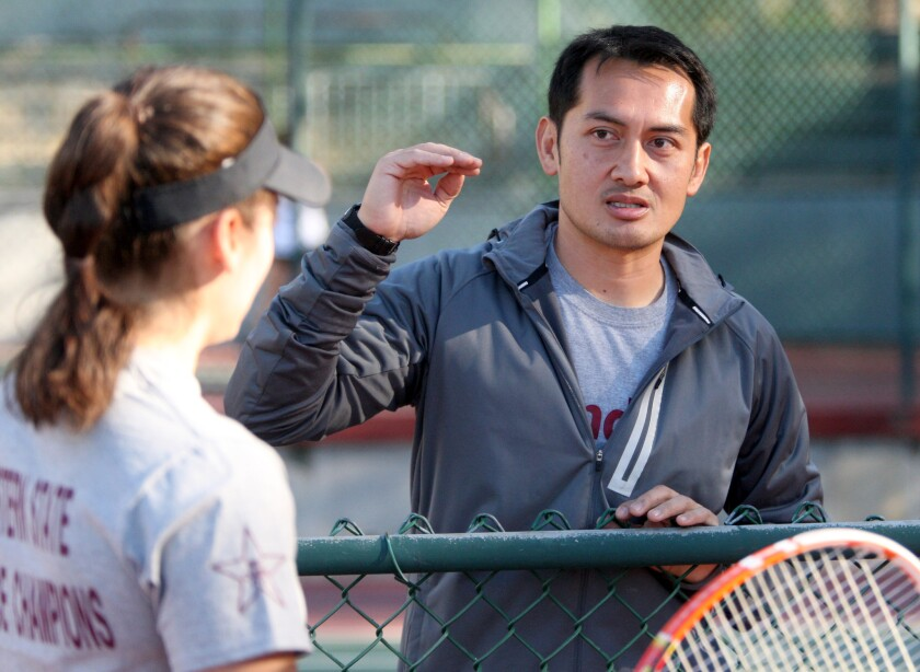 Glendale Community College women's tennis coach Deo Sy