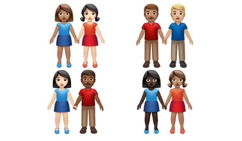 Esta imagen proporcionada por Apple muestra los nuevos emojis lanzados por Apple. Tanto Apple como Google lanzaron el miércoles 17 de julio de 2019 decenas de nuevos emojis que, como de costumbre, incluyen animalitos simpáticos, pero también otros que amplían los límites de la inclusión. El anuncio coincidió con el Día Mundial del Emoji (Apple vía AP).