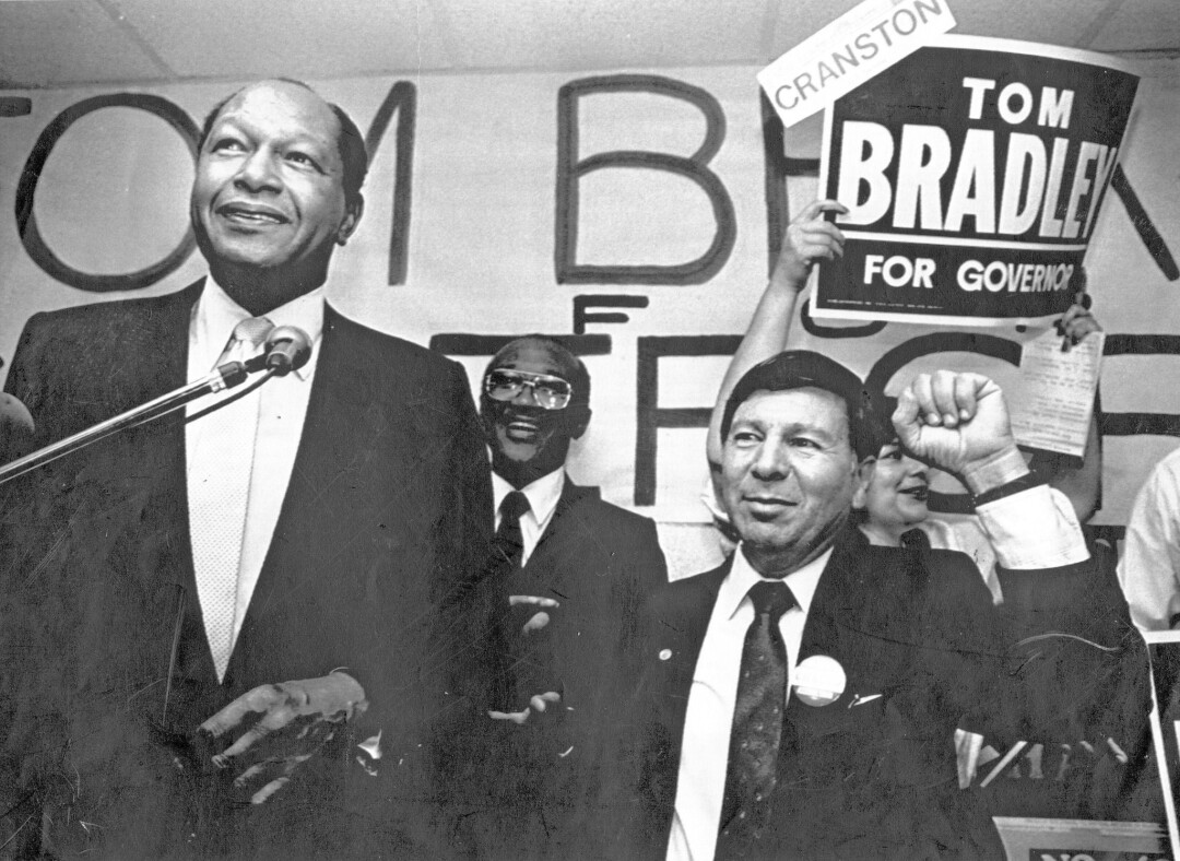 Los Angeles Mayor Tom Bradley during his run for governor in 1986, when Proposition 65 was also on the ballot.