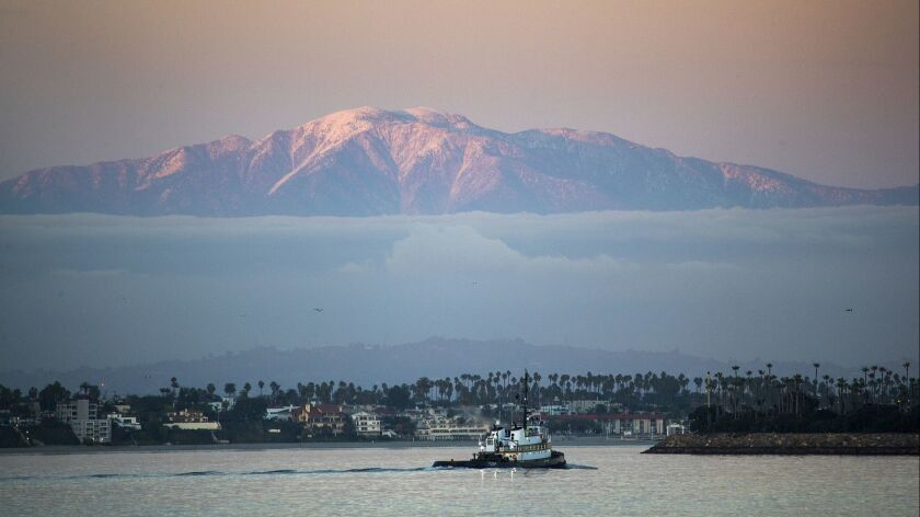 CATALINA ISLAND, CALIF. -- MONDAY, JANUARY 7, 2019: Crowley Tug boat travels through the water off