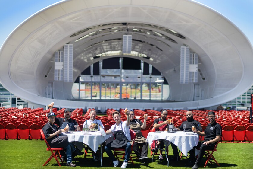 Some of San Diego's best known chefs and restaurateurs at the new Rady Shell at Jacobs Park.