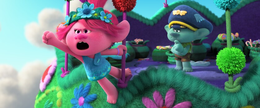"""Poppy and Branch (voiced by Anna Kendrick and Justin Timberlake) are back in the movie """"Trolls World Tour."""""""
