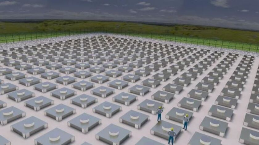 A rendering of the proposed interim storage site for commercial nuclear waste in eastern New Mexico to be built by the Eddy-Lea Energy Alliance and Holtec International.