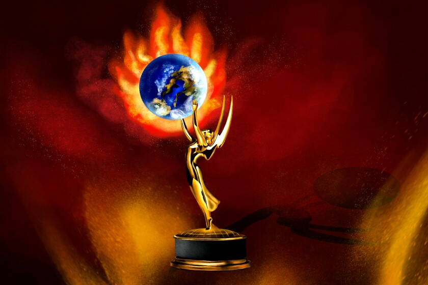 Illustration of Emmys statuette holding up planet Earth on fire.