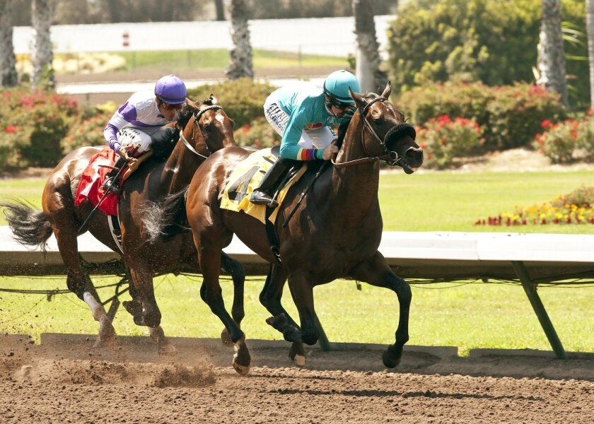 In a photo provided by Benoit Photo, Story to Tell and jockey Joe Talamo, right, win the $100,000 W.L. Proctor Memorial Stakes horse race Sunday, July 13, 2014, at Los Alamitos Race Course in Cypress, Calif. (AP Photo/Benoit Photo)