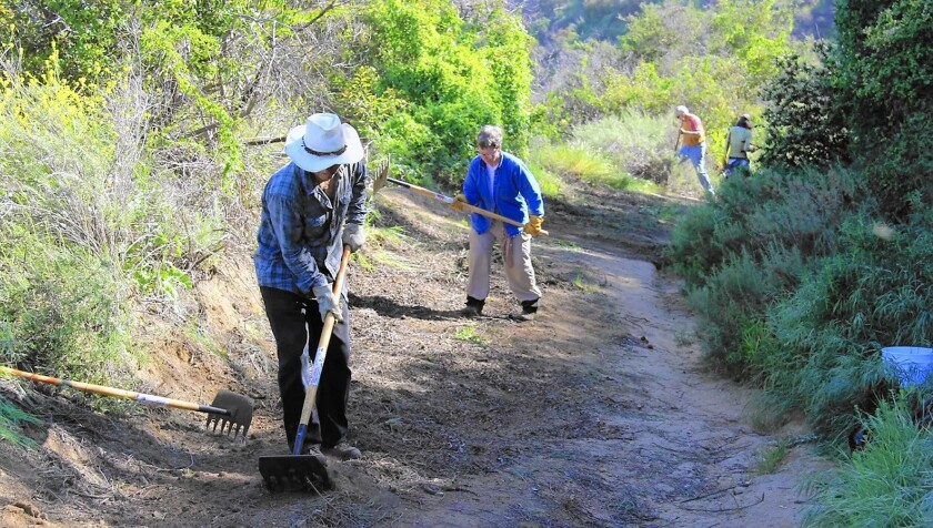 Volunteers clear trail at Brand Park