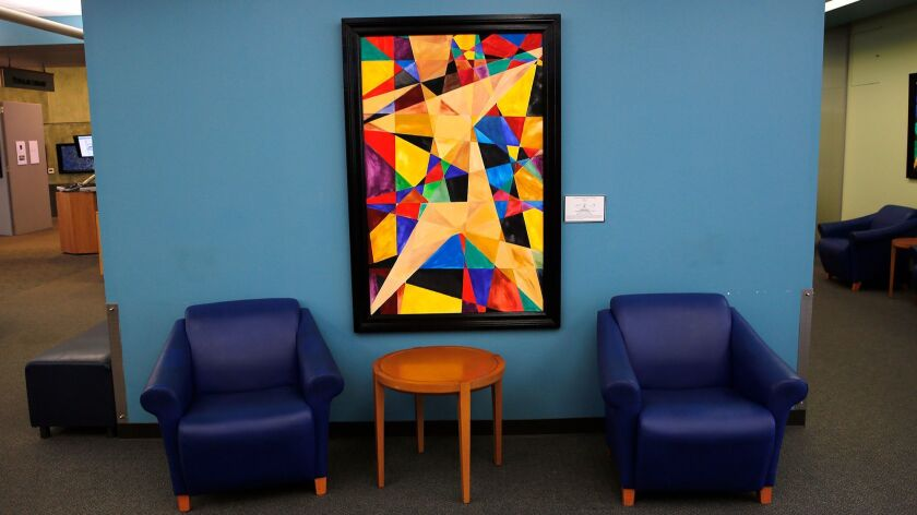 """One of Chip Fesko's vertical abstract geometric paintings, """"orthogonal lines to no where"""", on displa"""