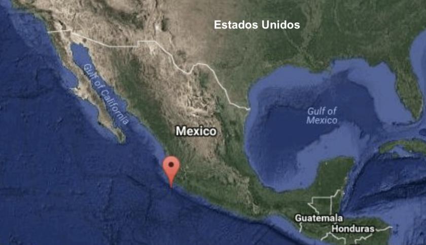 El movimiento telúrico se localizó en el océano Pacífico a 65 kilómetros (40,3 millas) al suroeste de Cihuatlán.