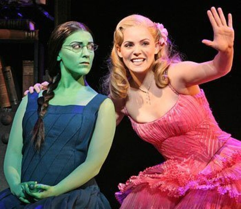"""The bond between Elphaba, played by Donna Vivino, and Glinda, portrayed by Katie Rose Clarke, is at the core of """"Wicked,"""" in a month-long run at the Civic Theatre. (Joan Marcus)"""