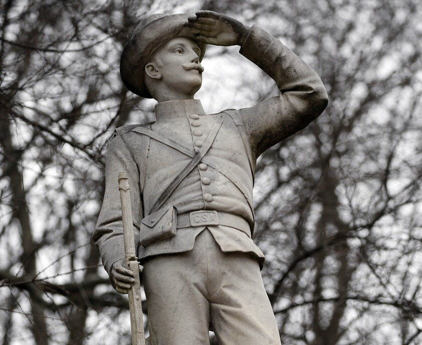 The Confederate soldier monument at the University of Mississippi in Oxford, Miss.
