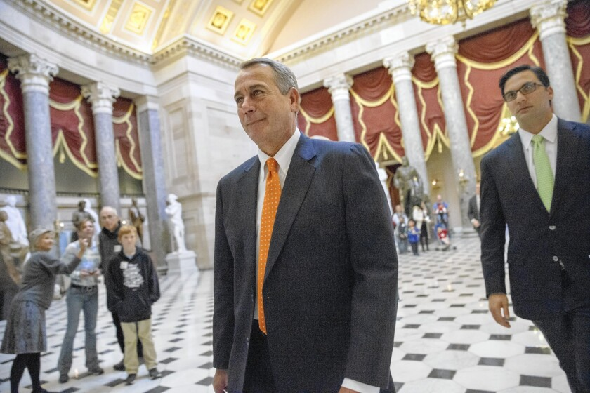 House Speaker John A. Boehner is under pressure to take a more confrontational stance toward the president after GOP victories in the recent elections.