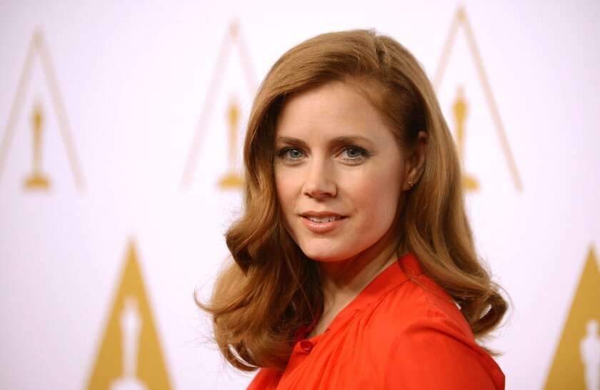 FILE - In this Monday, Feb. 10, 2014 file photo, Amy Adams arrives at the 86th Oscars Nominees Luncheon, in Beverly Hills, Calif. Adams mixed show business with shoe business at Oscar rehearsals. The Oscar presenter and nominee arrived at the Dolby Theatre in Los Angeles Friday, Feb. 28, 2014, in p