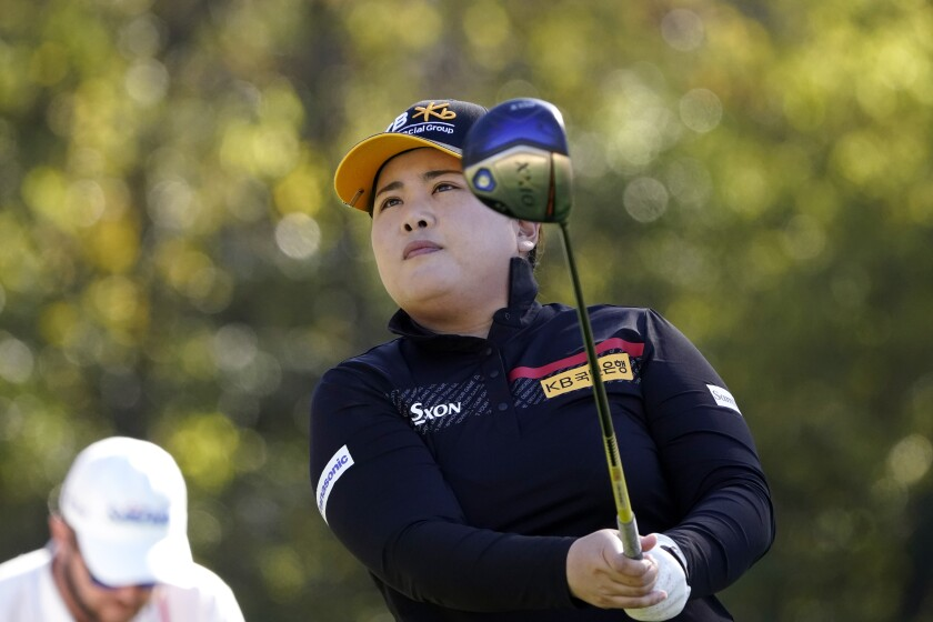 Inbee Park, of South Korea, watches her tee shot on the second hole during a practice round for the U.S. Women's Open golf tournament, Wednesday, Dec. 9, 2020, in Houston. (AP Photo/Eric Gay)