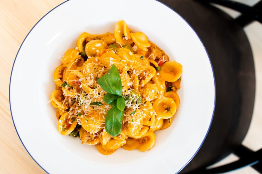 The new La Jolla restaurant Candor, from Italian-born chef Giuseppe Ciuffa, has a wide-ranging menu that includes pasta like the orecchiette with pork fennel sausage sugo, roasted peppers, broccolini, pecorino and herb breadcrumbs.
