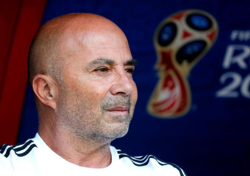 Argentina's coach Jorge Sampaoli during the FIFA World Cup 2018 round of 16 soccer match between France and Argentina in Kazan, Russia, 30 June 2018. EFE-EPA/YURI KOCHETKOV