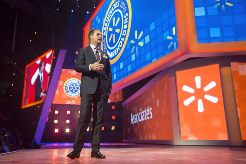 Doug McMillon, chief executive officer and president, talks on stage during the annual Wal-Mart Shareholders Meeting on Friday, June 3, 2016,  in Fayetteville, Ark.  (Jason Ivester/The Arkansas Democrat-Gazette via AP)  MANDATORY CREDIT
