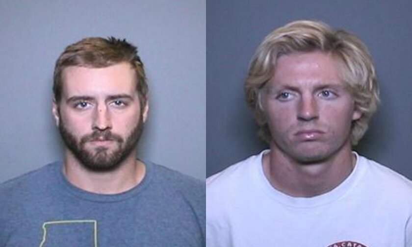 Mugshot compilation of suspects in the theft of Orange High School's turkey, Tim. They are Steven Koressel, 23, left, and Richard Brenton Melbye, 21, right.