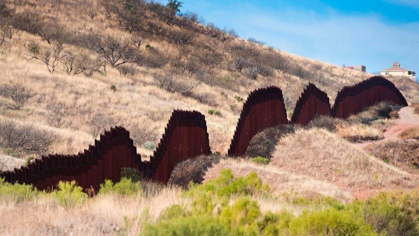 A section of the border fence seen in Nogales, Arizona, on the US-Mexico border.