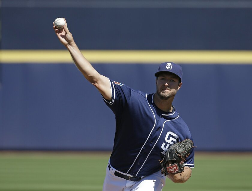 San Diego Padres' Colin Rea throws during the first inning of a spring training baseball game against the San Diego Padres on Saturday, March 19, 2016, in Peoria, Ariz. (AP Photo/Darron Cummings)