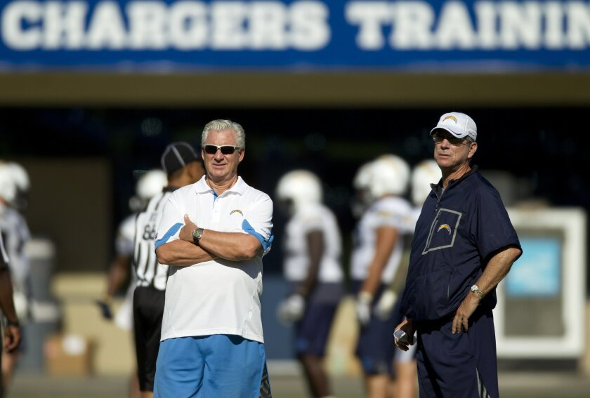 Chargers General Manager A.J. Smith (left) and head coach Norv Turner watch their team during football practice at the Chargers training camp.