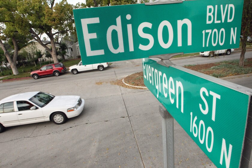 Burbank is planning to create bike lanes on Edison Boulevard after residents complained that the street's angle caused a visibility problem that posed a threat to pedestrians, cyclists and other motorists at the intersection with Evergreen Street.