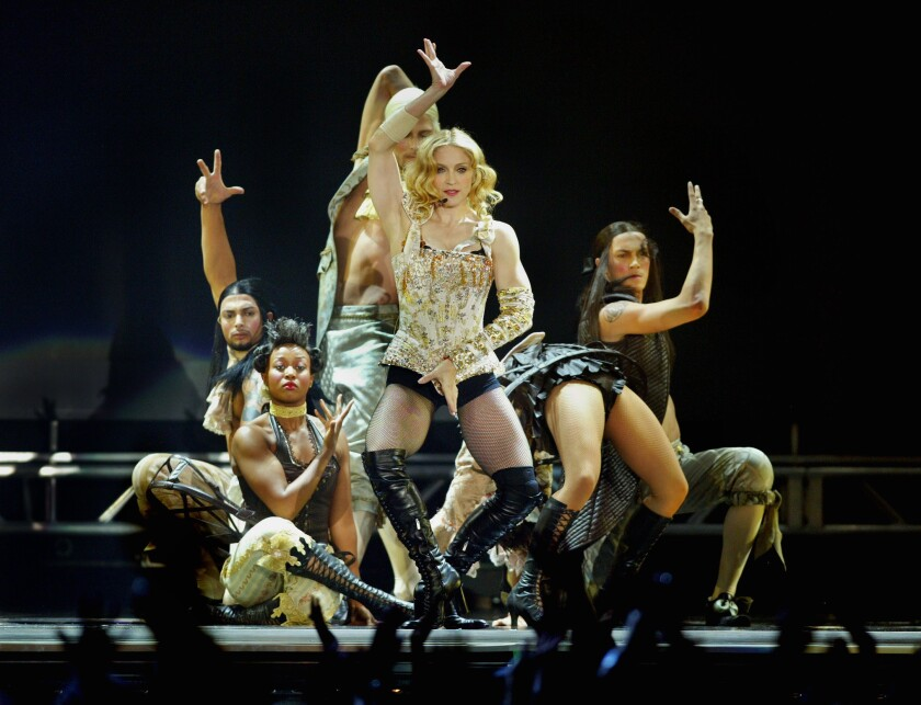 "Madonna performs the song ""Vogue"" at the Forum in Inglewood in May 2004. The U.S. 9th Circuit Court of Appeals ruled Thursday that the song was not in violation of copyright law."