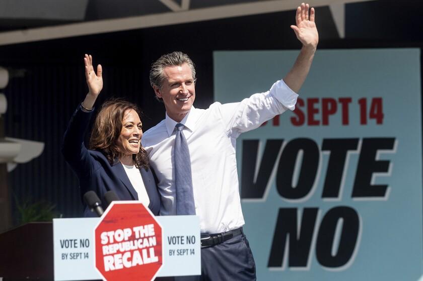 Vice President Kamala Harris and Gov. Gavin Newsom.