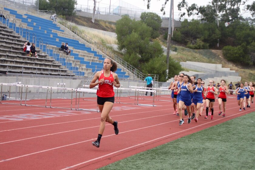 La Jolla Track & Field's Sakura Roberson (front) qualifies for the state meet later this month.