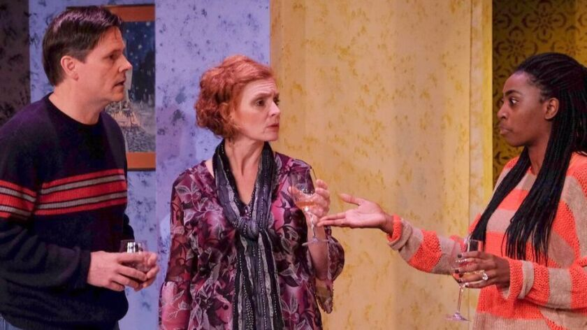 "Ted Leib, Heidi Bridges and Alexandra Slade in Scripps Ranch Theatre's ""Good People."""