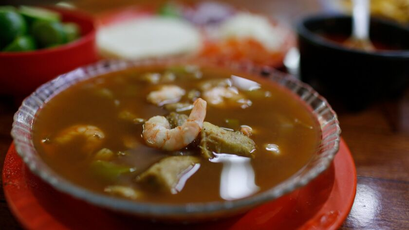 Cahuamanta stew is served at the Mariscos Naranjeros Home Team food stall at the Mercado Municipal. The dish, typical of Hermosillo, is made with manta ray and shrimp.