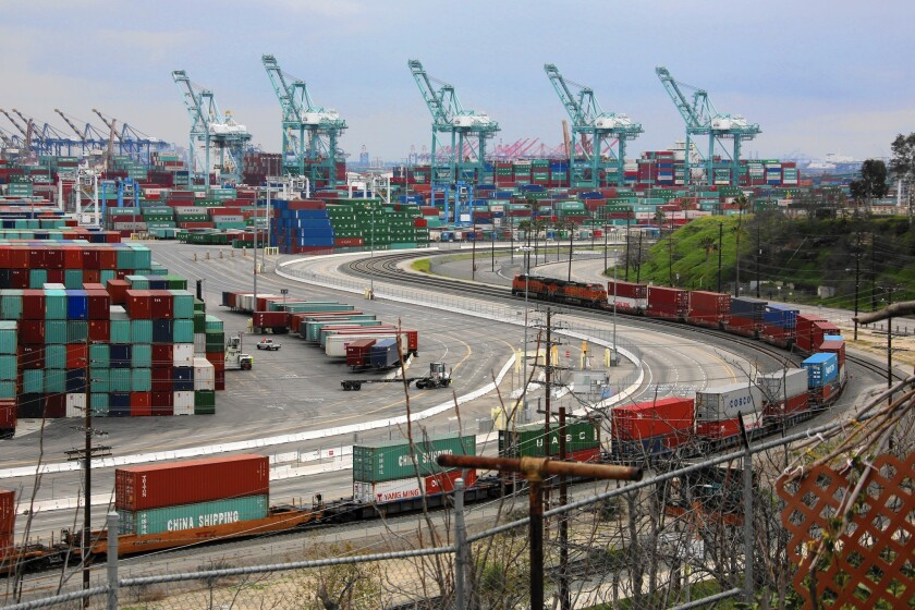 The twin ports of Long Beach and Los Angeles. Experts debate whether expanding free trade is good for the U.S. economy and for American workers.