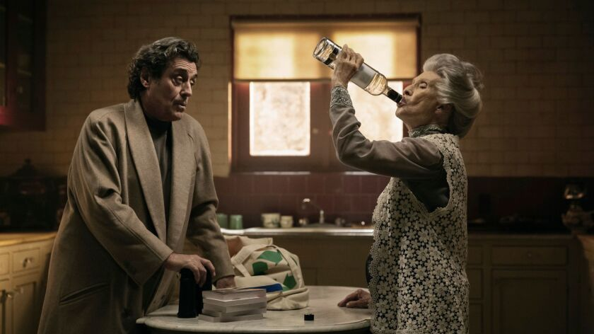 """Ian McShane and Cloris Leachman in a scene from """"American Gods."""" The series premieres April 30 at 9 p.m. on Starz."""