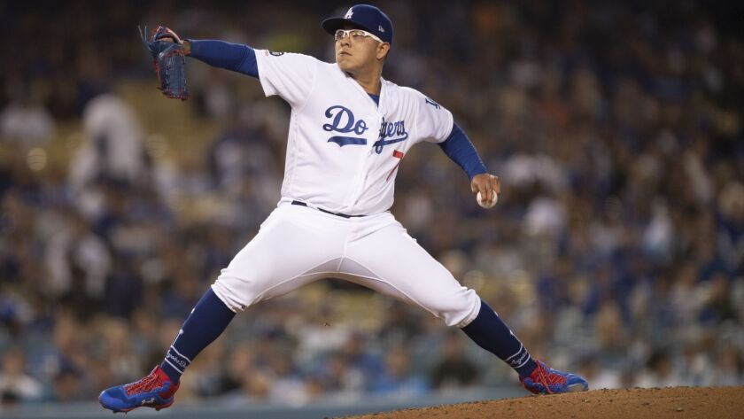 Los Angeles Dodgers relief pitcher Julio Urias in a baseball game against the Chicago Cubs in Los An