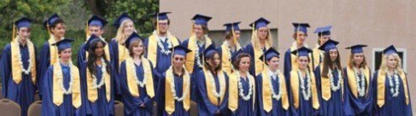Above: The Grauer School class of 2013. Left: graduating seniors Rayna Shah, Matthew Meyer and Caia Jaisle Photos/Christy Goodson