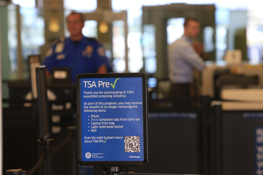 A TSA PreCheck screening lane at John Wayne Airport in Santa Ana.